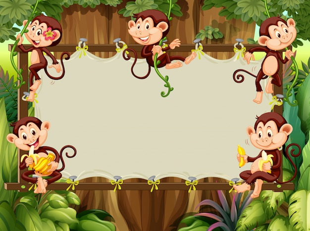 Frame design with monkeys in the woods