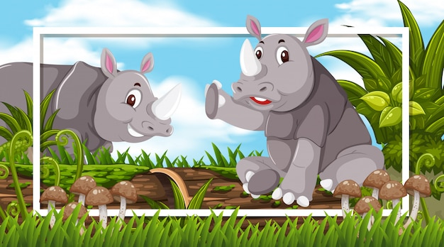 Frame design with rhinos in the woods background