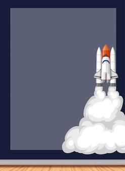 バックグラウンドで飛んでいる宇宙船とフレームデザイン