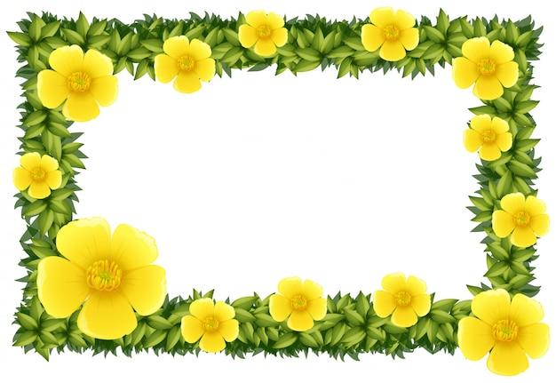 노란 꽃을 가진 프레임 디자인
