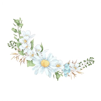Frame in digital watercolor style of daisies