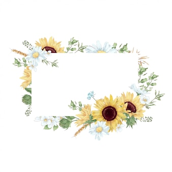 Frame in digital watercolor style of sunflowers and daisies