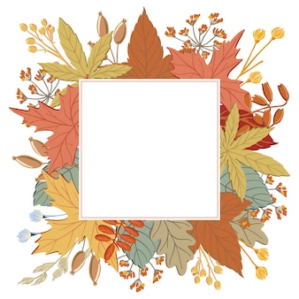 Frame of fall, autumn leaves, twigs and branches with square background