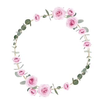 Frame floral roses and eucalyptus leaf