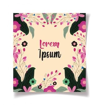 Frame flowers botanical floral wedding cards