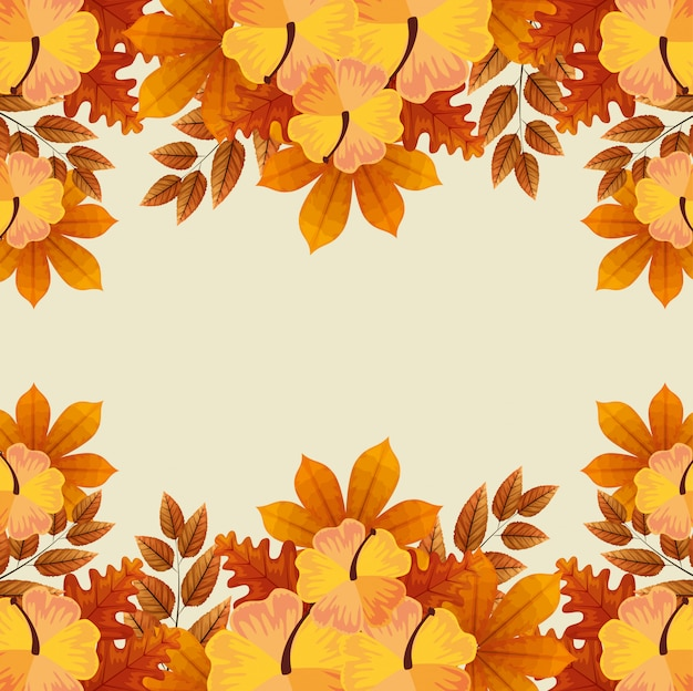 Frame of flowers with autumn leaves