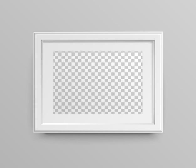 Рамка для фото. горизонтальная белая пустая рамка с паспарту. вектор реалистичные бумага и матовый пластик с тенью. место для вашей картинки