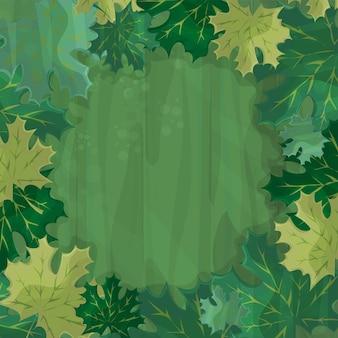 Рамка для оформления текста. очарованный лес с зеленым кленовым листом - иллюстрации шаржа