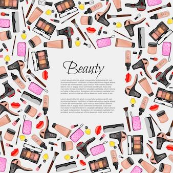 美容アイテムのセットを持つテキストのフレーム。漫画のスタイル。