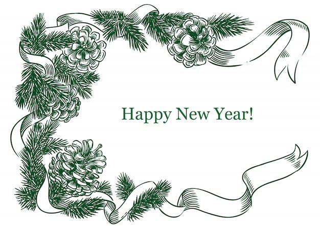 新年のフレーム、モミの枝とコーン