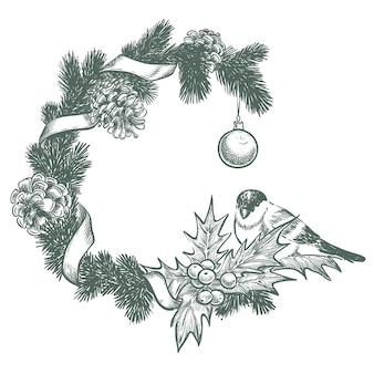 新年のフレーム、モミの枝、鳥、コーン
