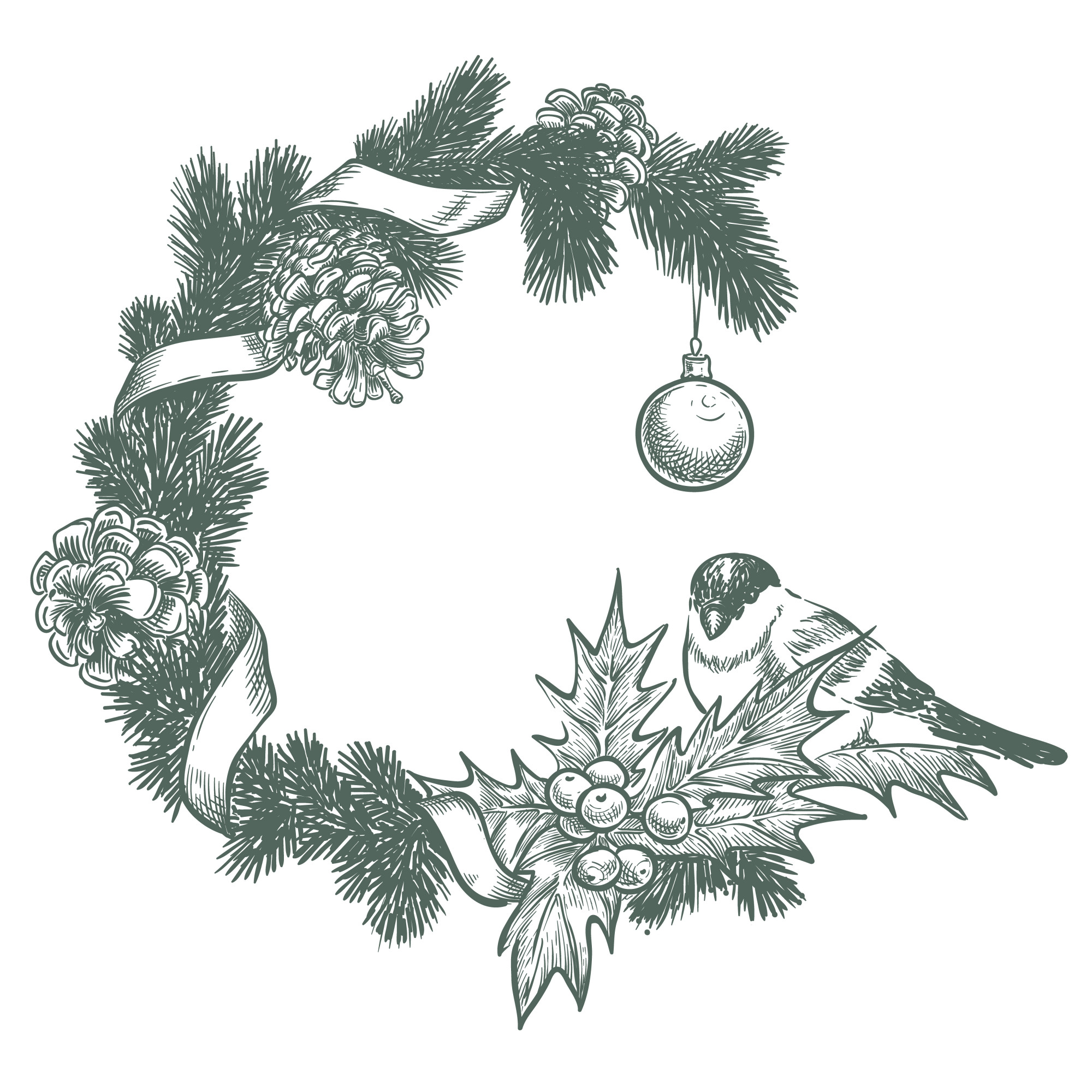 Frame for the new year, with fir branches, bird and cones