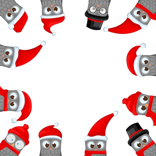 Frame from christmas owls in the santa claus for photos
