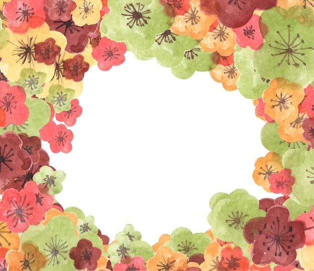 Frame from sakura flowers. watercolor illustration.