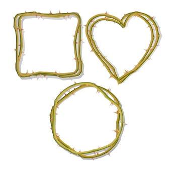The frame from thorns in the shape of a heart isolated on a white background