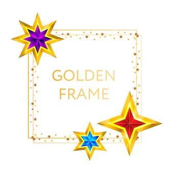 Frame golden stars on background new year christmas