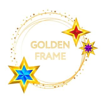 Frame golden stars on background new year