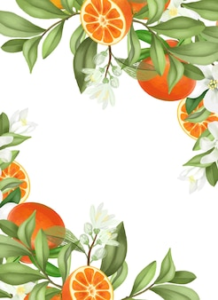 Frame of hand drawn blooming mandarin tree branches, flowers and mandarins