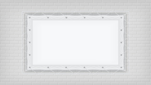 Frame hanging with on white brick wall