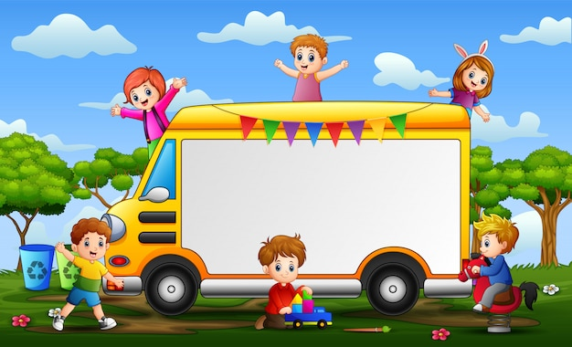 Frame of happy children on the car