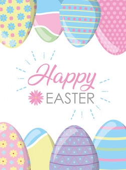 Frame happy easter eggs with pastel colors greeting card