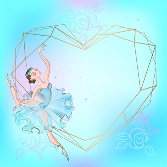 Frame heart with ballerina