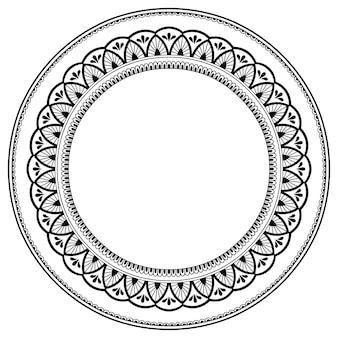 Рамка в восточной традиции. стилизованный орнамент для оформления чехлов. цветочная мандала в стиле менди.