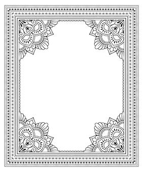 동부 전통의 프레임. 헤나 장식 패턴으로 스타일링. 멘디 스타일의 꽃 만다라.