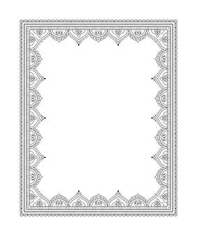 Каркас в восточной традиции. стилизованный под тату хной орнамент для украшения обложек книги, тетради, шкатулки, журнала, открытки и папки. цветочная мандала в стиле менди.
