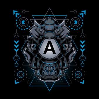 Frame initial robotic cyborg style sacred geometry