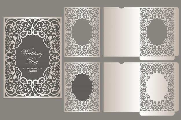Frame laser cut invitation pocket envelope. laser cut templat