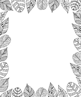 Frame of leaves with ethnic ornament background. tribal design.