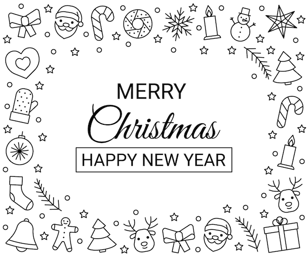 Frame line icons for christmas and new year. greeting happy chrismas. vector illustration