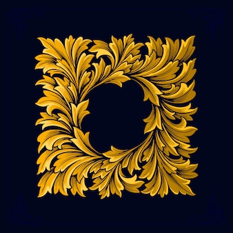Рамка luxury vintage swirl золотой процветать