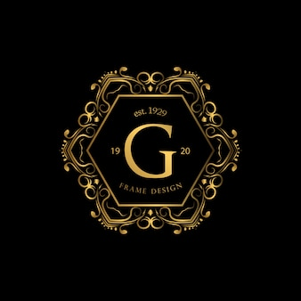 Frame luxury with golden color logo