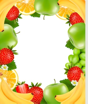 Frame made of fresh juicy fruit.