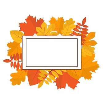 Frame made from autumn leaves autumn frame flat style round frame made of tree branches