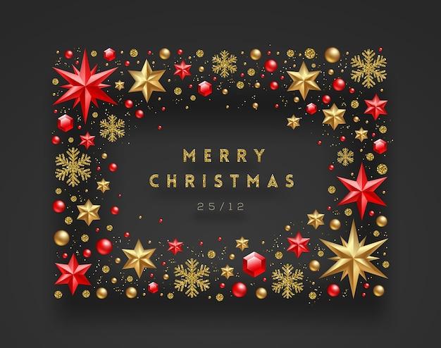 크리스마스 장식과 휴일 인사말로 만든 프레임