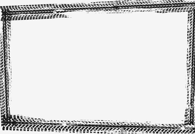 フレームはブラックのタイヤプリントでできています。自動車輸送サービスのバナーやポスターのグランジ空枠テンプレート。ラリー、モトクロス汚れたタイヤパターン、オフロードの汚れたトレイルテクスチャ