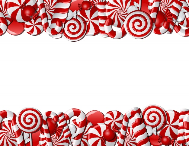 Frame made of red and white candies. seamless pattern Premium Vector