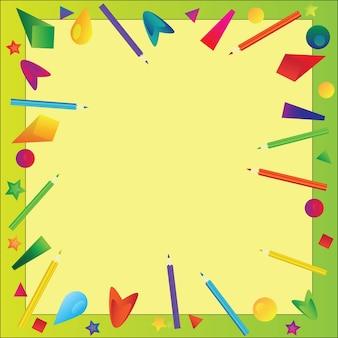 Рамка из цветных карандашей - векторный фон