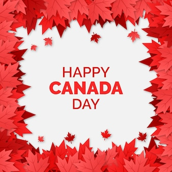 Frame of maple leaves national canada day