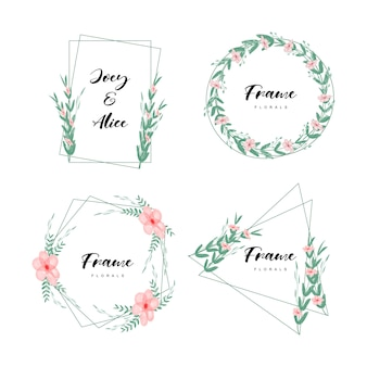 Frame minimalist floral set with watercolor style