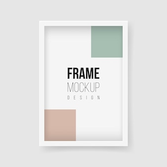 フレームモックアップ。ベクトルフラットイラスト。モノクロ写真用の長方形の額縁。広い境界線と影のあるリアルなプラスチックまたは白い木製フレームマット。