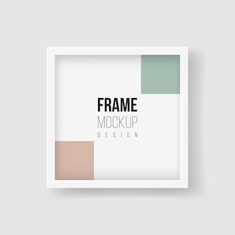 フレームモックアップ。ベクトルフラットイラスト。モノクロ写真用の正方形の額縁。広い境界線と影のあるリアルなプラスチックまたは白い木製フレームマット。