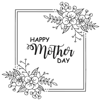 Frame mother day flower hand drawn templates