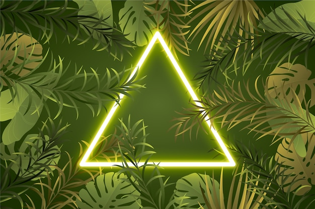 Frame neon realistic leaves