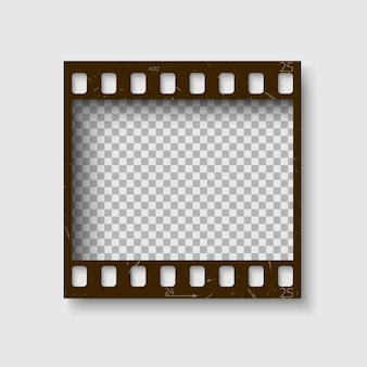 Кадр из 35-мм диафильма. пустой бланк фото-негатив. шаблон камеры для вашего дизайна. на белом фоне