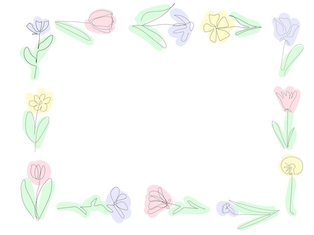 白い背景の上の美しい花のフレーム1つの連続線黒のアウトラインアート花