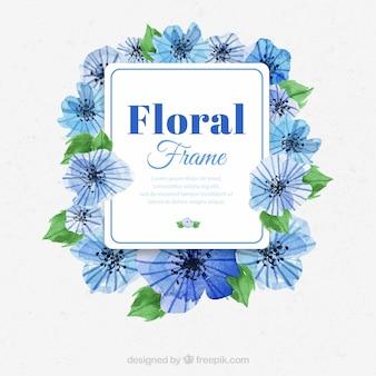 青い水彩の花のフレーム